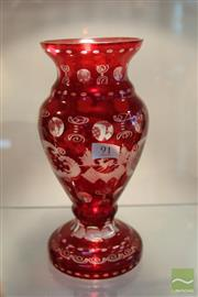 Sale 8217 - Lot 91 - Czech Bohemian Egermann Crystal Ruby Red Vase