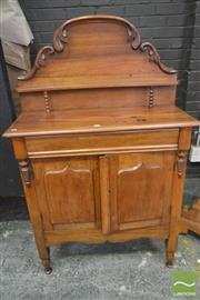 Sale 8255 - Lot 1034 - Late 19th Century Cedar Chiffonier / Meatsafe, with carved back, shield panel doors & mesh sides, raised on turned legs
