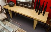 Sale 8310A - Lot 296 - An oversized Century Furniture timber console with gouged tapered legs, H 77 x W 230 x D 73cm