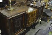 Sale 8341 - Lot 1009 - Carved Imbuia Break Front Sideboard with Glass Top