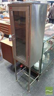 Sale 8409 - Lot 1010 - Stainless Steel Cabinet with Glass Panel Door & Glass Shelves