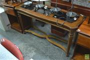 Sale 8406 - Lot 1104 - Carved Timber Hall Table with Three Glass Insert Tops on Stretcher Base