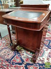 Sale 8485 - Lot 1035 - Victorian Inlaid Walnut Davenport, with hinged stationery compartment & writing slope, above four drawers to one side