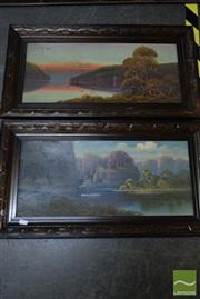 Sale 8530 - Lot 2049 - Artist Unknown Highland Scenes, oils on cardboard, 37 x 68cm, each, unsigned