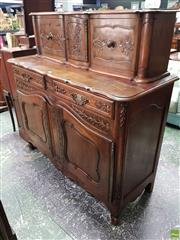 Sale 8559 - Lot 1032 - French Walnut & Beech Buffet a Deux Corps, carved with cherries, flowers & wheat sheaves, the low top with cupboard & two unusual sl...
