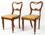 Sale 8620A - Lot 9 - A set of 6 antique mahogany English chairs c. 1880. The kidney backs with a carved back rail above removable squabs upholstered in g...