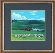 Sale 8891 - Lot 2064A - Lawrence Starkey (1959 - ) - Pastoral Scene with Grazing Sheep 19 x 21.5 cm