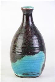 Sale 8855 - Lot 73 - Blue Glaze Vase with Red Overtones, signed B to base, height 20cm