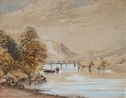 Sale 8975 - Lot 564 - Attributed to Francis Towne (1739-1816) - Welsh Riverscape, c1790 20 x 25 cm (frame: 31 x 36 x 3 cm)