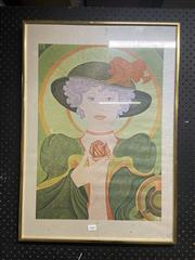 Sale 8981 - Lot 2068 - Decorative Print of a Woman with a Rose (Frame: 70 x 50cm)
