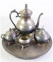 Sale 8989F - Lot 681 - Small group of silverplated wares incl. coffee pot, tray and lidded bowls
