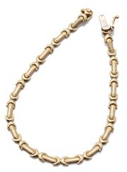 Sale 9046 - Lot 301 - A 14CT GOLD BRACELET; textured bar and crescent links to a box clasp with safety clip, length 19cm, wt. 6.26g.