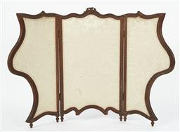 Sale 9123J - Lot 123 - An antique walnut folding arms screen C: 1900. The ornately shaped and carved frame upholstered in cream florals on a sage green sil...