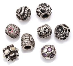 Sale 9149 - Lot 529 - EIGHT PANDORA SILVER STONE SET CHARMS; 10mm round charms set with crystals and ornamentals, total wt. 17.26g.