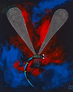 Sale 9184A - Lot 5033 - KYM HART (1965 - ) Dragonfly oil on board 29.5 x 24.5 cm (frame: 42 x 37 x 2 cm) signed lower right