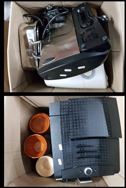 Sale 9176 - Lot 2214 - Large collection of kitchen wares inc Le Creuset ramekins, KitchenAid products, coffee machine, deep frier, mixer and others