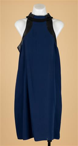 Sale 9250F - Lot 59 - A Gucci blue silk dress, with leather trim and zip to back. size 44. Some markings