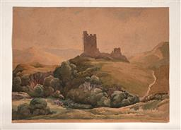 Sale 9256A - Lot 5109 - FRANK BAKER - Scottish Countryscape and Castle Ruin 35 x 47 cm