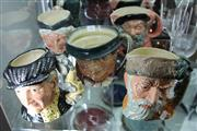 Sale 8086 - Lot 70 - Royal Doulton Pearly King, Granny, Falstaff, Tommy Weller, Robinson Crusoe Toby Jugs -