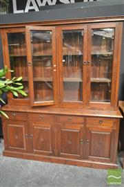 Sale 8277 - Lot 1014 - Large Glass Front Bookcase on Sideboard Base