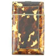 Sale 8518A - Lot 28 - A Victorian tortoiseshell calling card case, having rounded edges, a velvet lined interior & a working button clasp, good to fair co...