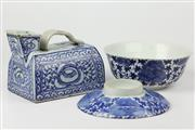 Sale 8429 - Lot 70 - Chinese Blue & White Water Pourer with a Bowl & Plate Combo