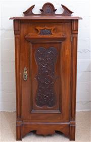 Sale 8550H - Lot 203 - An English mahogany pedestal cabinet c1895, with a carved pediment back above the edge mould top above a beautifully detailed berry...