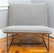 Sale 8575H - Lot 56 - A contemporary occasional chair of generous proportions, upholstered in grey fabric H of seat back: 86cm H to seat: 43cm D: 55...