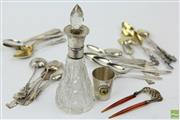 Sale 8586 - Lot 162 - HMSS and Plated Collection Incl Teaspoons, Perfume Bottle And Napkin Rings