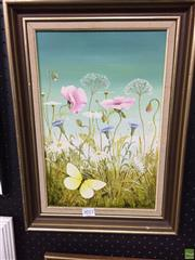 Sale 8648B - Lot 2012 - Sue Nagel - Pink Poppies & Daisies with Butterfly, oil on board, 34 x 24cm, signed lower right