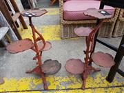 Sale 8740 - Lot 1250 - Pair of Tiered Cast Iron Plant Stands