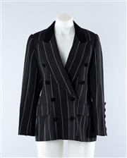 Sale 8800F - Lot 28 - An Escada by Margaretha Ley double breasted pin stripe blazer with velvet collar, in virgin wool, size 36