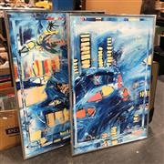 Sale 8836 - Lot 2093 - 2 Original Works by Derek Glaskin: Reminds Me of Frisco & Another Painting About Buildings and Water -