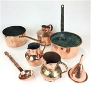 Sale 8872C - Lot 3 - Collection of Fine French Copper Wares incl. Jugs, Funnel & Watering Can
