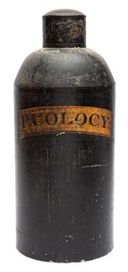 Sale 9054E - Lot 67 - A large black painted tin storage jar/ caddy with lid, gilt painted details for P. Colocy (bitter apple) Height 37cm