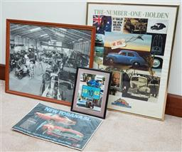 Sale 9103H - Lot 85 - Four items pertaining to motor vehicles including three framed prints and a Torana Advert, largest 62cm x 49.5cm