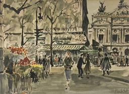 Sale 9123J - Lot 257 - Franz Herbelot (French working 1940s-60s) Paris Street Scene Hand coloured lithograph Height cm x Width cm Framed Size: Height cm x ...