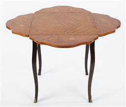Sale 9123J - Lot 124 - A vintage Italian walnut floral inlaid drop side occasional table C: 1960. The table fitted with 4 piano hinged flap sides raised on...