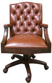 Sale 8258A - Lot 33 - High buttoned back tan leather desk chair, swivel and tilt on casters, RRP $1650