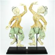 Sale 8273 - Lot 89 - Thai Pair of Timber Carved Dancing Figures