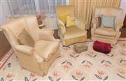 Sale 8368A - Lot 53 - A pair of Vintage gold fabric upholstered wing back armchairs, together with a gold velvet and a golden cream brocade example, inclu...