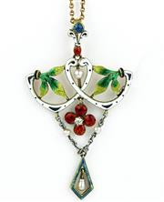 Sale 8414 - Lot 366 - A 19TH CENTURY 15CT GOLD AND ENAMEL PENDANT NECKLACE; geometric and foliate pendant inlaid with polychrome enamel, natural pearls, c...