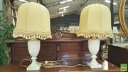 Sale 8402 - Lot 1096 - Pair of Turned and Reeded Alabaster Lamps (repair to base)