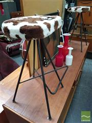 Sale 8476 - Lot 1020A - Pair of Meadmore Style Barstools with Faux Cow Hide Upholstery