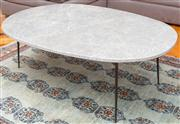 Sale 8575H - Lot 55 - An oval Sacramento coffee table with grey marble top on metal legs H: 44cm W:100cm D: 7cm0 Ex Coco Republic, 12/2016 $555