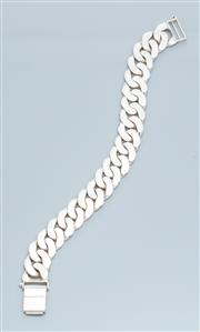 Sale 9037F - Lot 81 - A HEAVY STERLING SILVER  BRACELET; 16mm wide flat curb link chain to box clasp, length 21cm, wt. 77.50g.