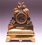 Sale 9081 - Lot 64 - Gilt Brass Mantle Clock Adorned By Two Persian Figures (H:34.5cm)