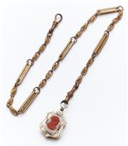 Sale 9080W - Lot 19 - A silver gilt chain with shield pendant, one side with stone cameo, the other uncarved. Length of chain 40cm