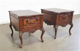 Sale 9151 - Lot 1263 - Pair of timber single drawer bedsides on cabriole legs (h62 x w51 x d70cm)