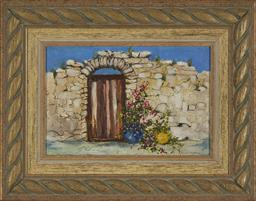 Sale 9208 - Lot 2063 - ANITA NEWMAN (1946 - ) Back to a Patio oil on board 29.5 x 44 cm(frame: 55 x 69 x 6 cm) signed lower right
